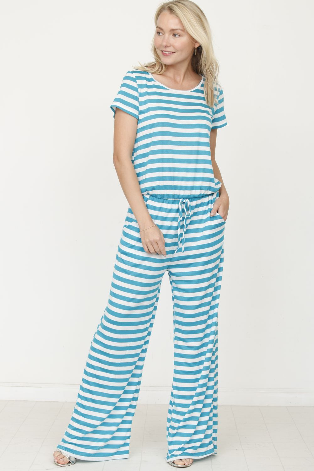 Cyan Stripe Short Sleeve Jumpsuit_Plus