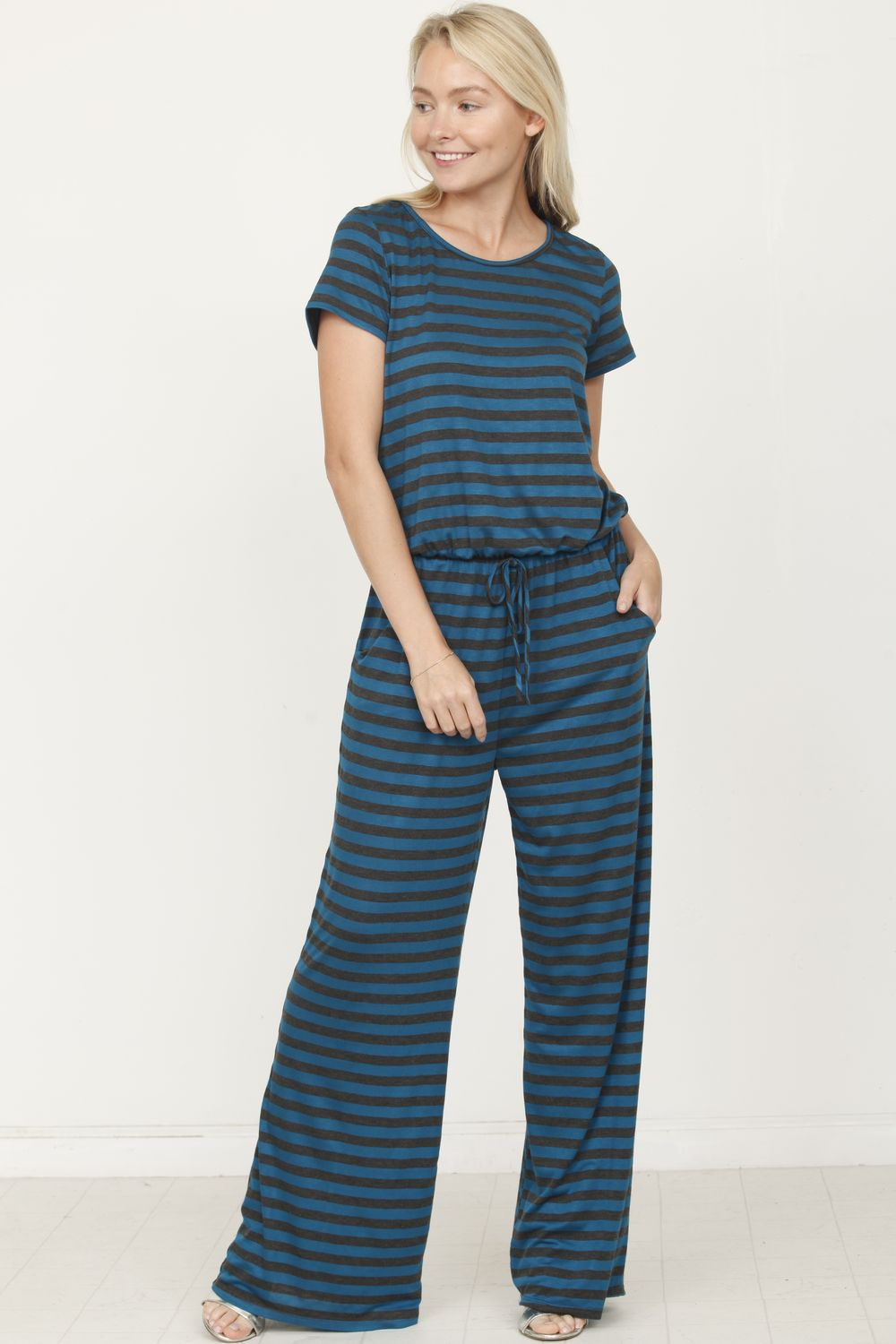 Teal Charcoal Stripe Short Sleeve Jumpsuit