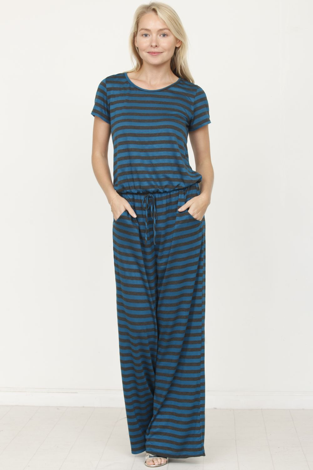 Teal Charcoal Stripe Short Sleeve Jumpsuit_Plus