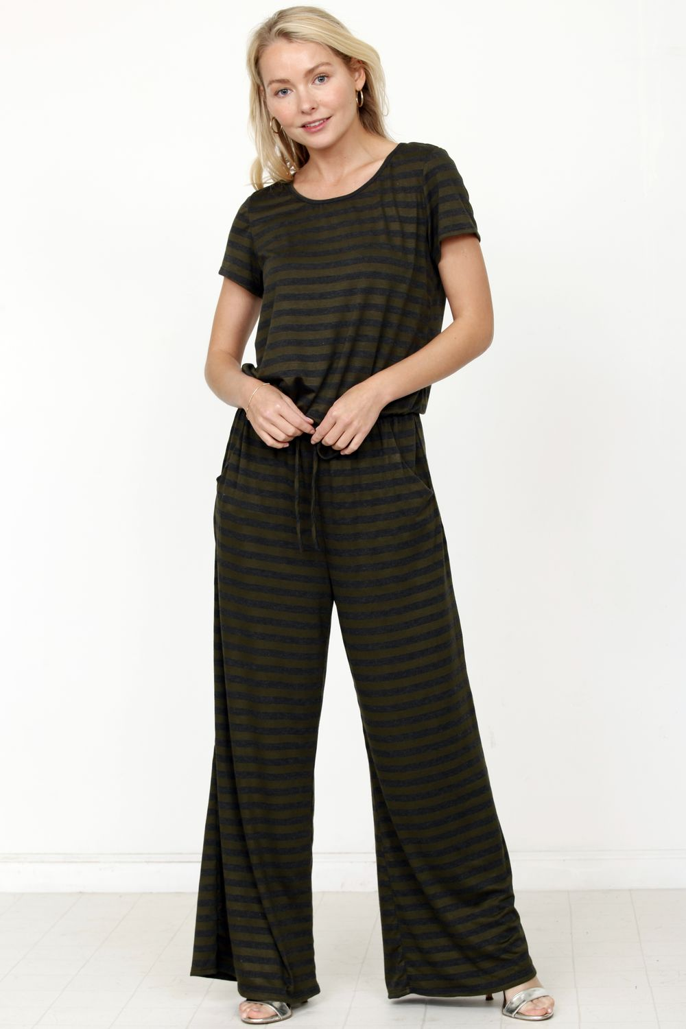 Olive Charcoal Stripe Short Sleeve Jumpsuit