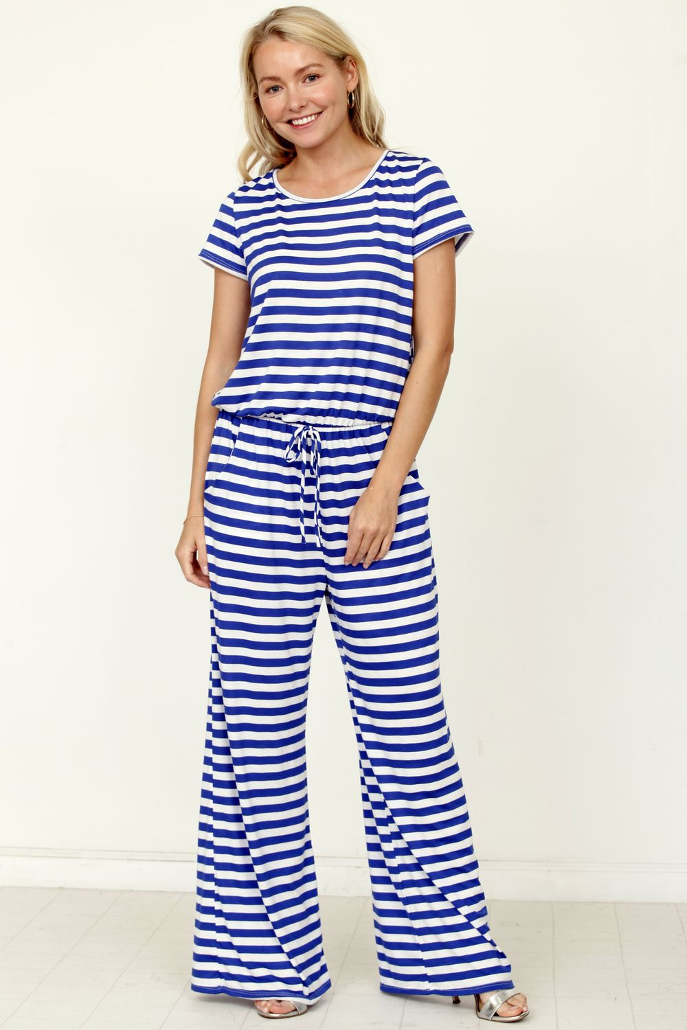 Blue Stripe Short Sleeve Jumpsuit