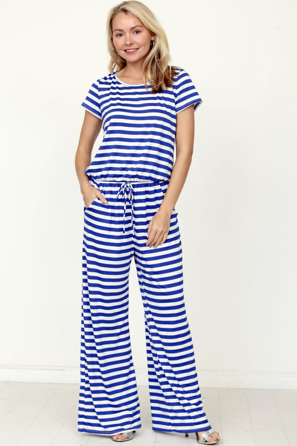 Blue Stripe Short Sleeve Jumpsuit_Plus