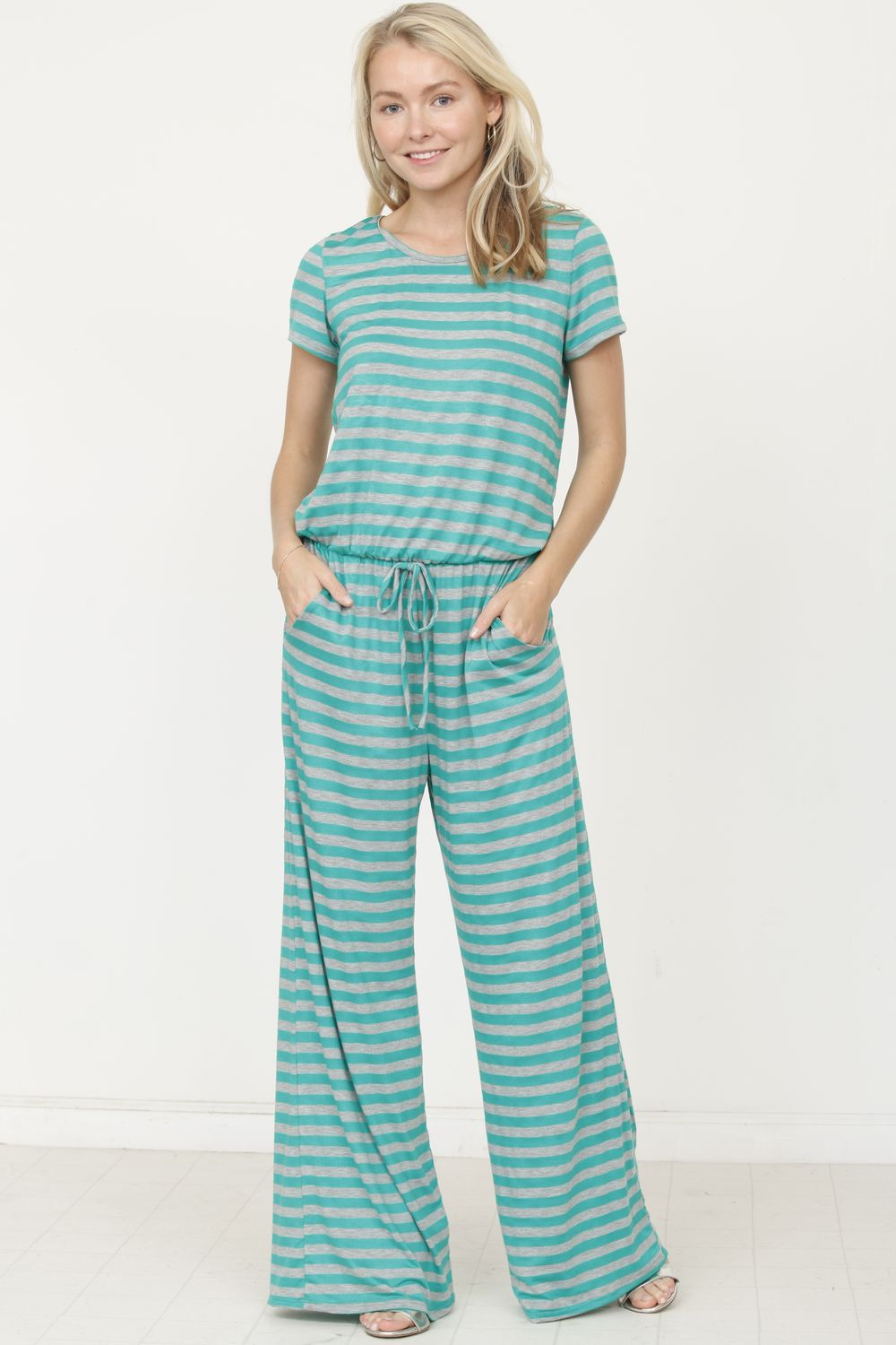 Green Grey Stripe Short Sleeve Jumpsuit_Plus