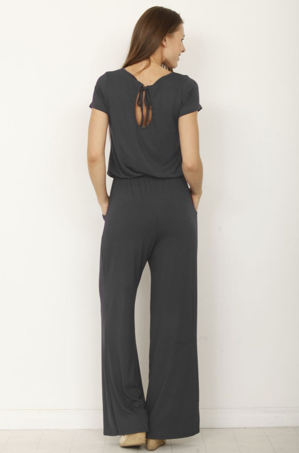 Solid Charcoal Short Sleeve Jumpsuit