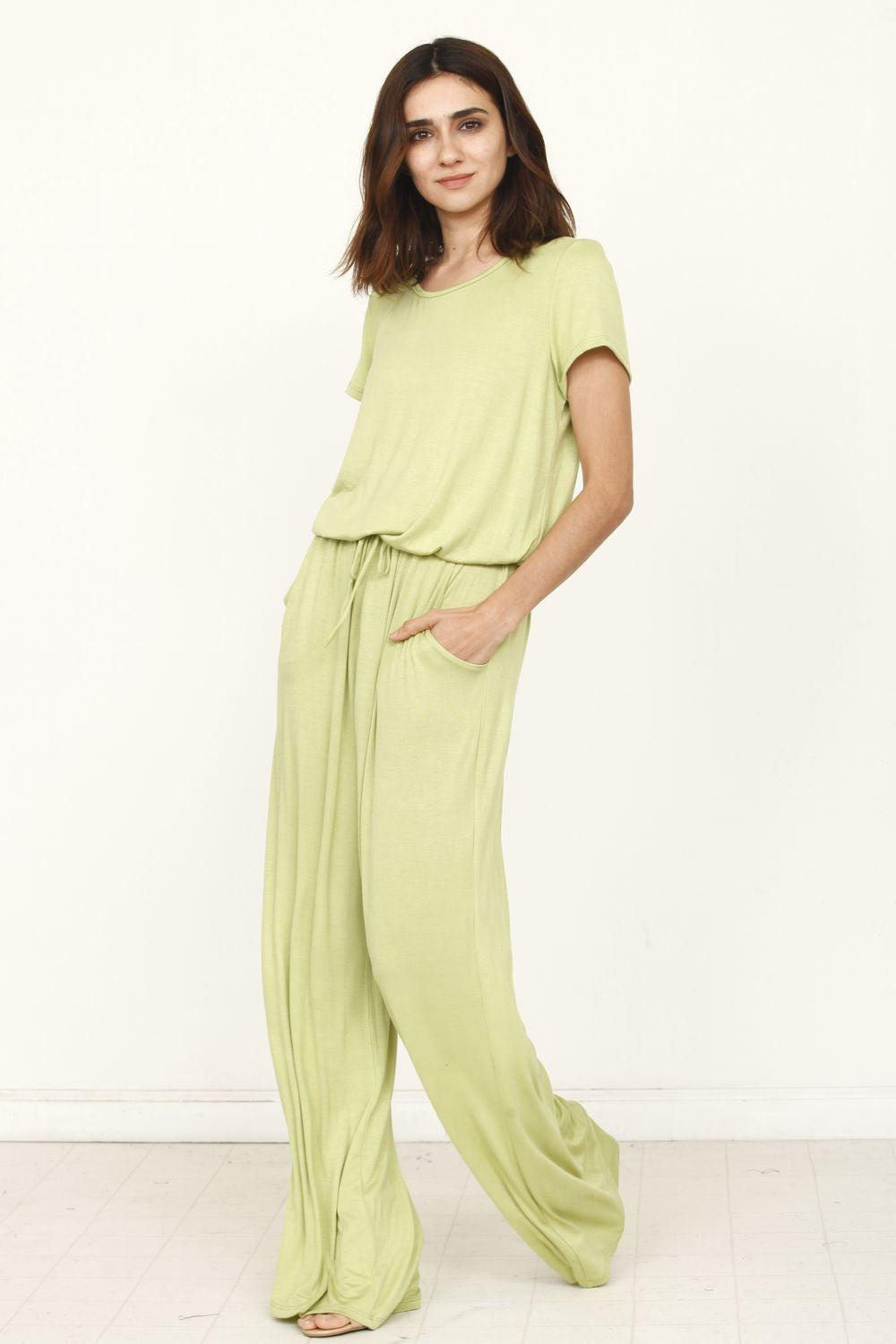 Solid Sage Short Sleeve Jumpsuit_Plus