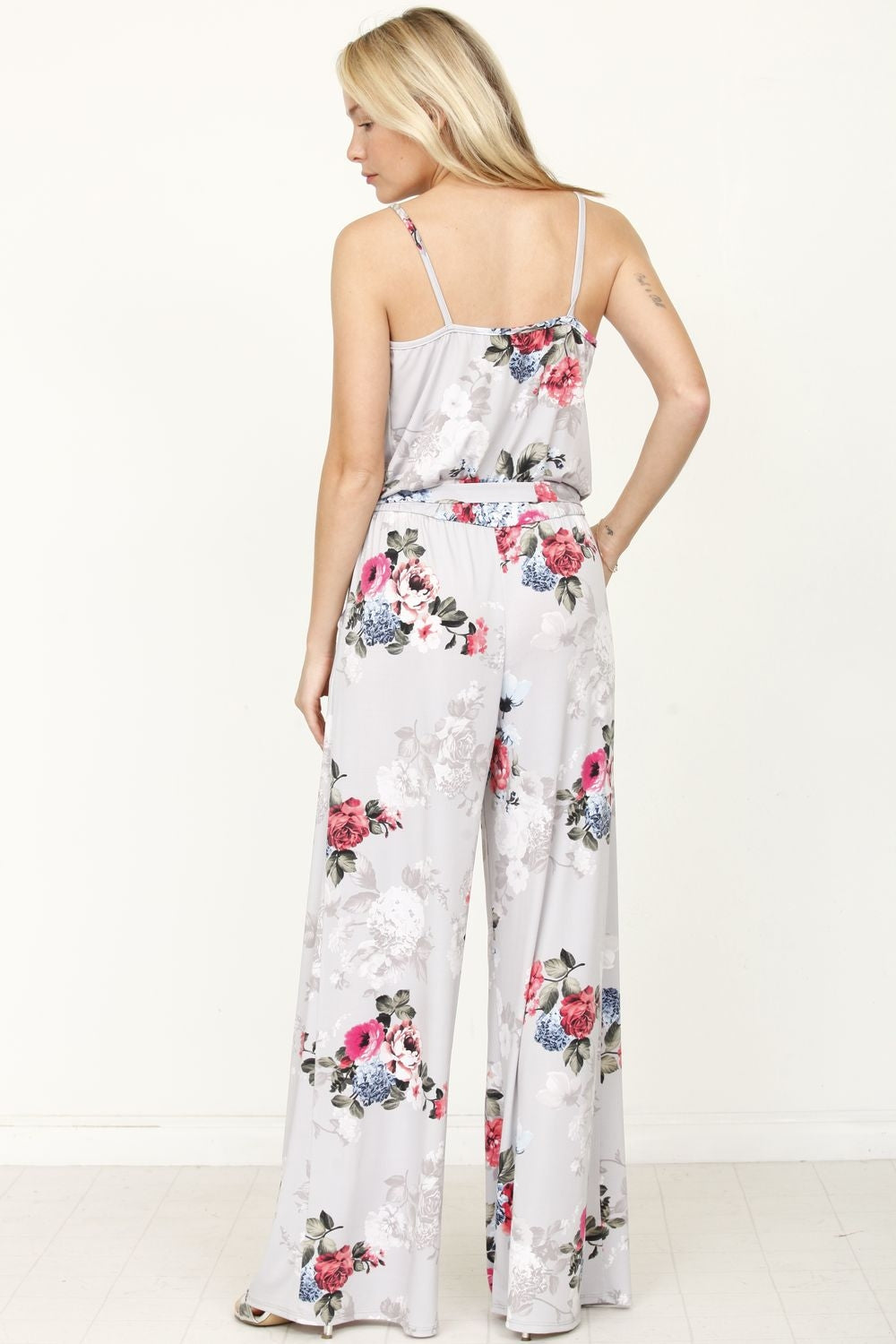 Grey Floral Surplice Spaghetti Strap Jumpsuit with Sash