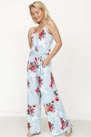 Mint Floral Surplice Spaghetti Strap Jumpsuit with Sash