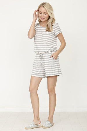 Grey Stripe Short Sleeve Romper