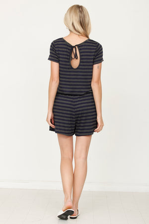 Charcoal & Navy Stripe Short Sleeve Romper_Plus
