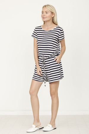 Navy Stripe Short Sleeve Romper_Plus