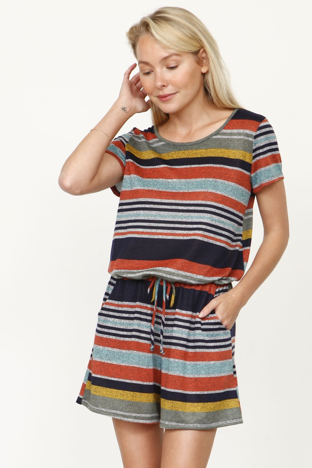 Orange Heather Multi Stripe Short Sleeve Romper