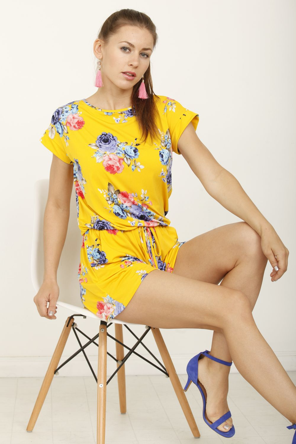 Yellow Floral Short Sleeve Romper