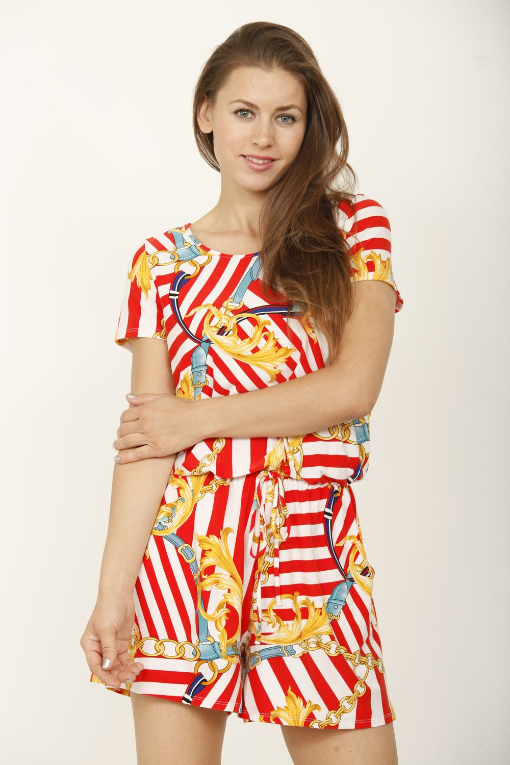 Red Stripe & Chain Print Short Sleeve Romper