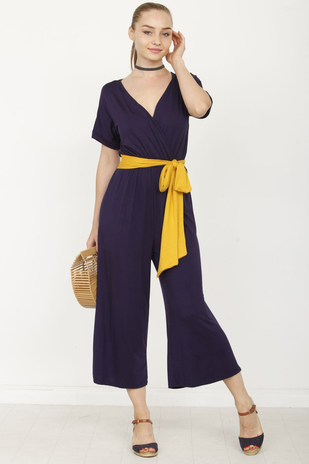 Navy Surplice Mustard Sash Cropped Jumpsuit