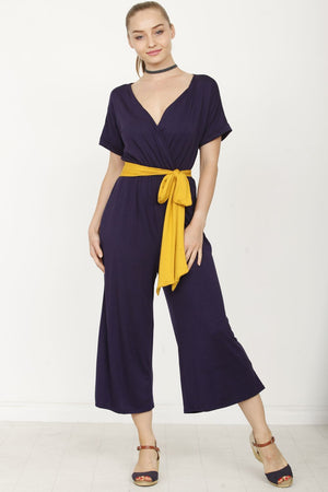 Navy Surplice Mustard Sash Cropped Jumpsuit_Plus