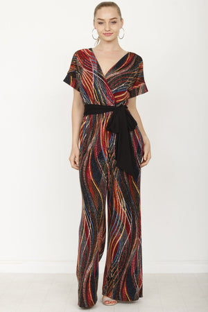 Red Wavy Tribal Surplice Black Sash Jumpsuit
