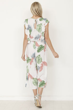 Ivory Tropical Leaf Front & Back Ruffle Cropped Jumpsuit