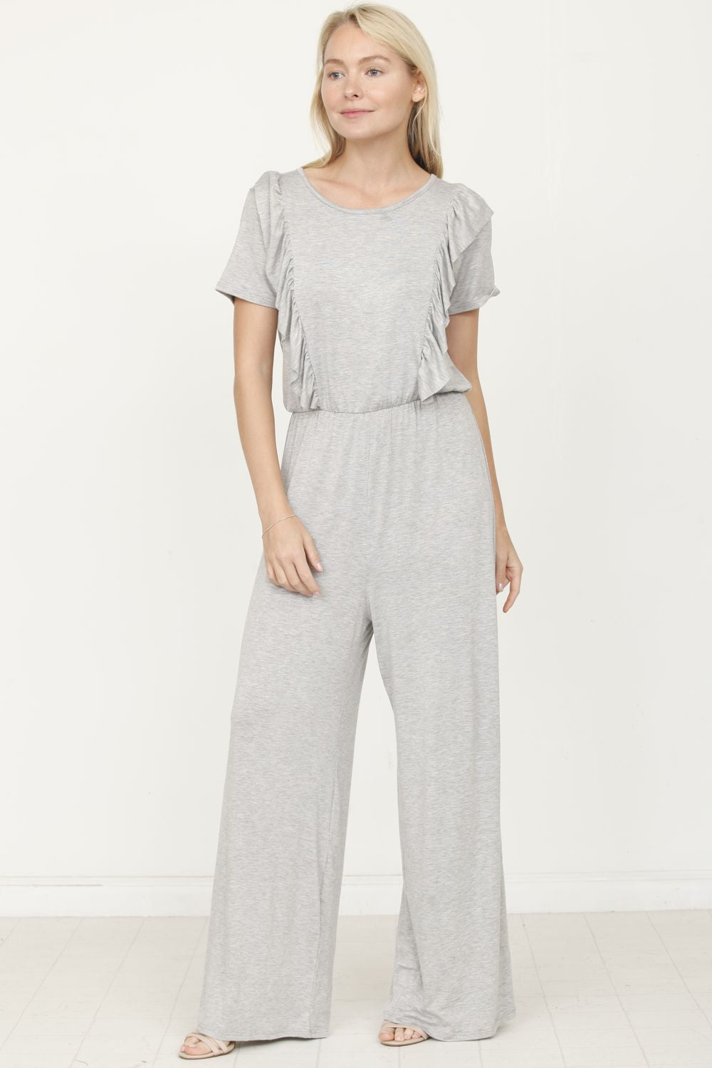 Solid Grey Short Sleeve Jumpsuit with Ruffle