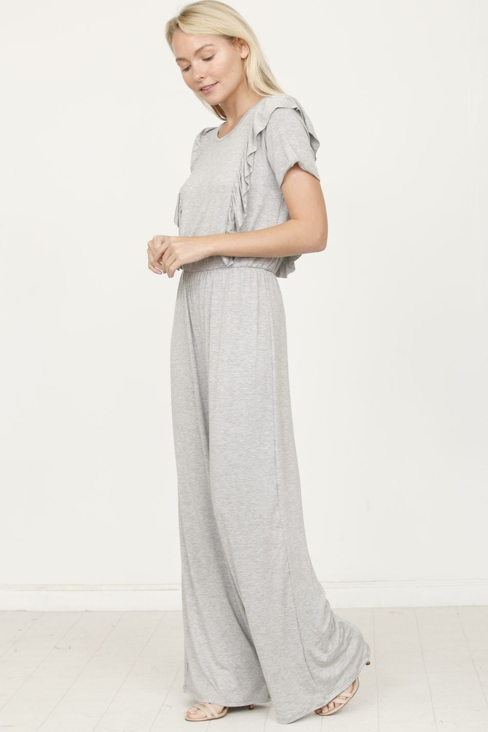 Solid Grey Short Sleeve Jumpsuit with Ruffle_Plus
