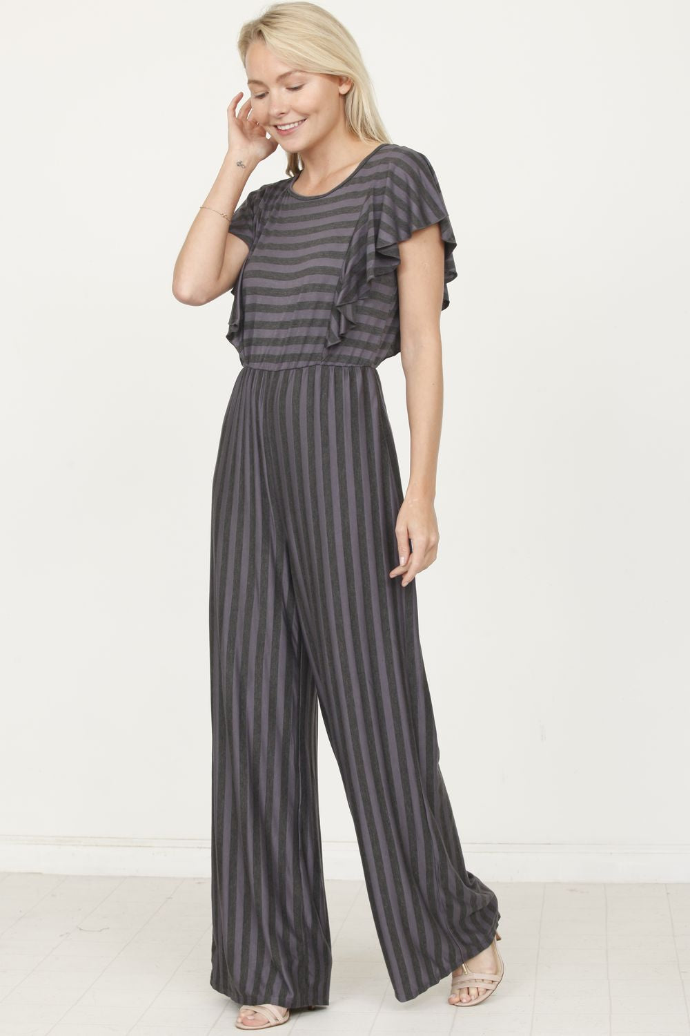 Charcoal Stripe Short Sleeve Jumpsuit with Ruffle
