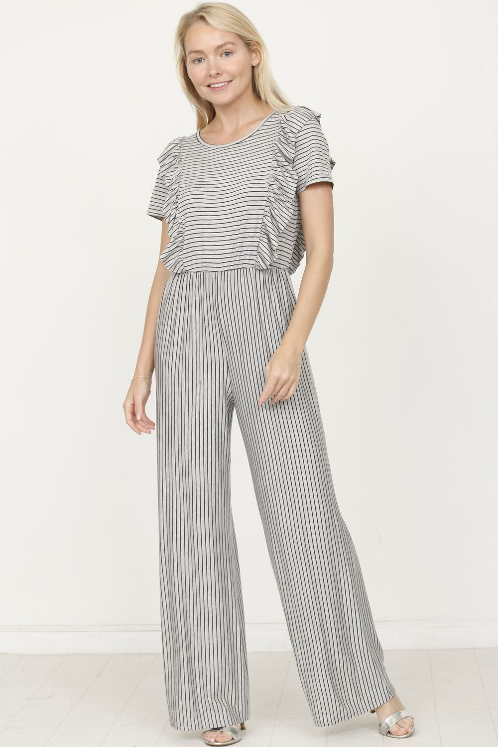 Grey & Black Stripe Short Sleeve Jumpsuit with Ruffle