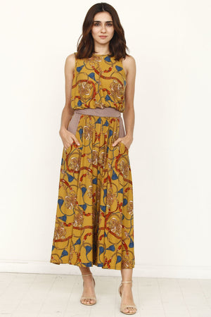 Mustard Chain Mocha Band Sleeveless Cropped Jumpsuit_Plus