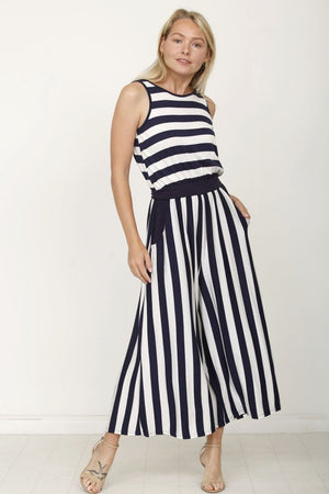 Navy Stripe Sleeveless Cropped Jumpsuit