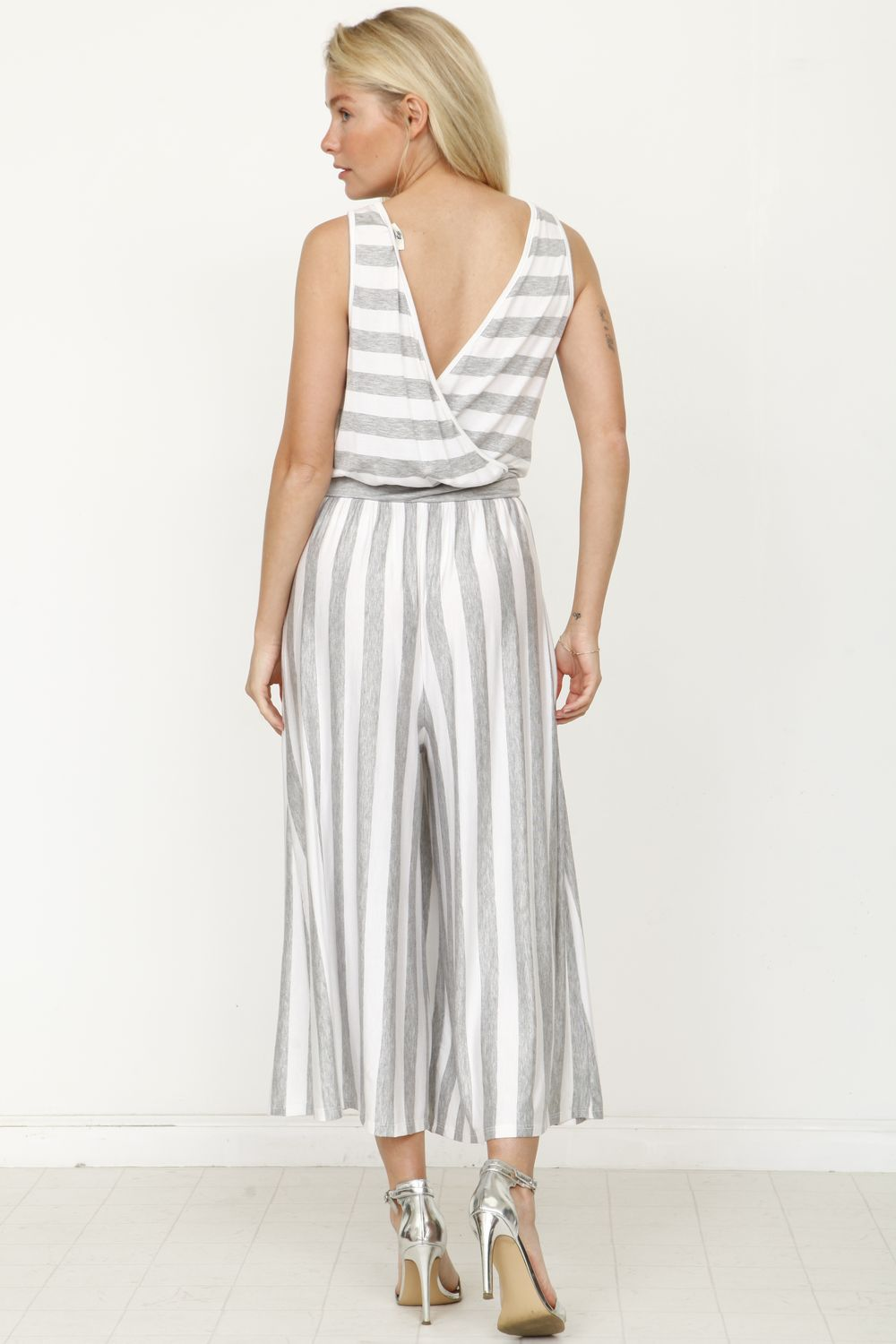 Grey Stripe Sleeveless Blouson Cropped Jumpsuit
