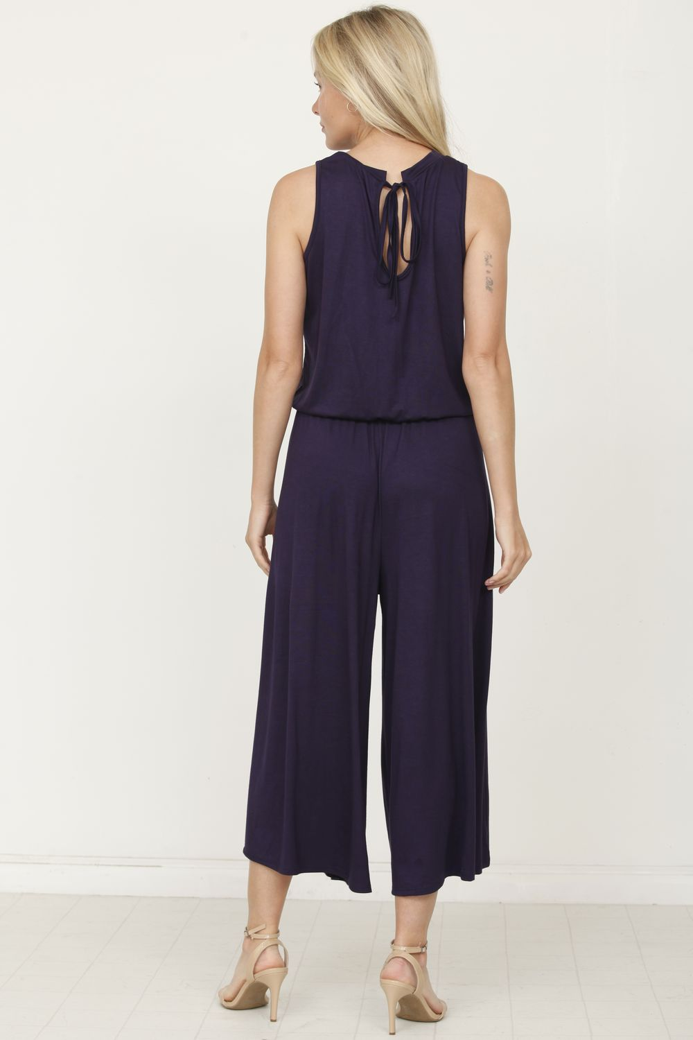 Navy Sleeveless Cropped Jumpsuit