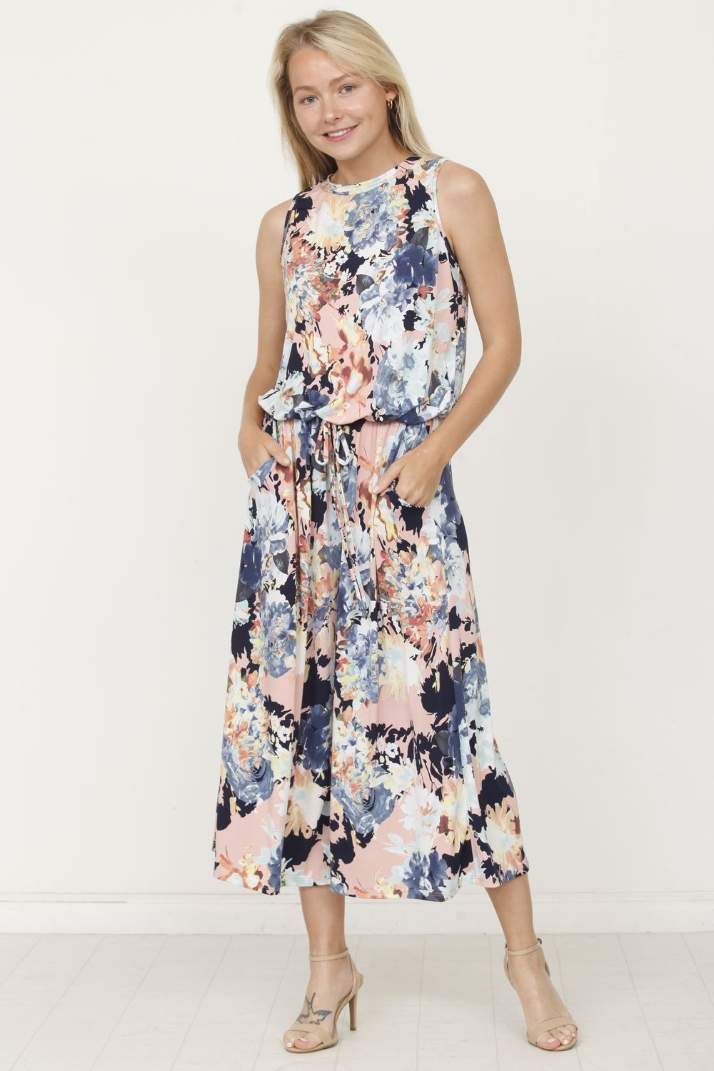 Dust Pink & Navy Floral Sleeveless Cropped Jumpsuit_Plus