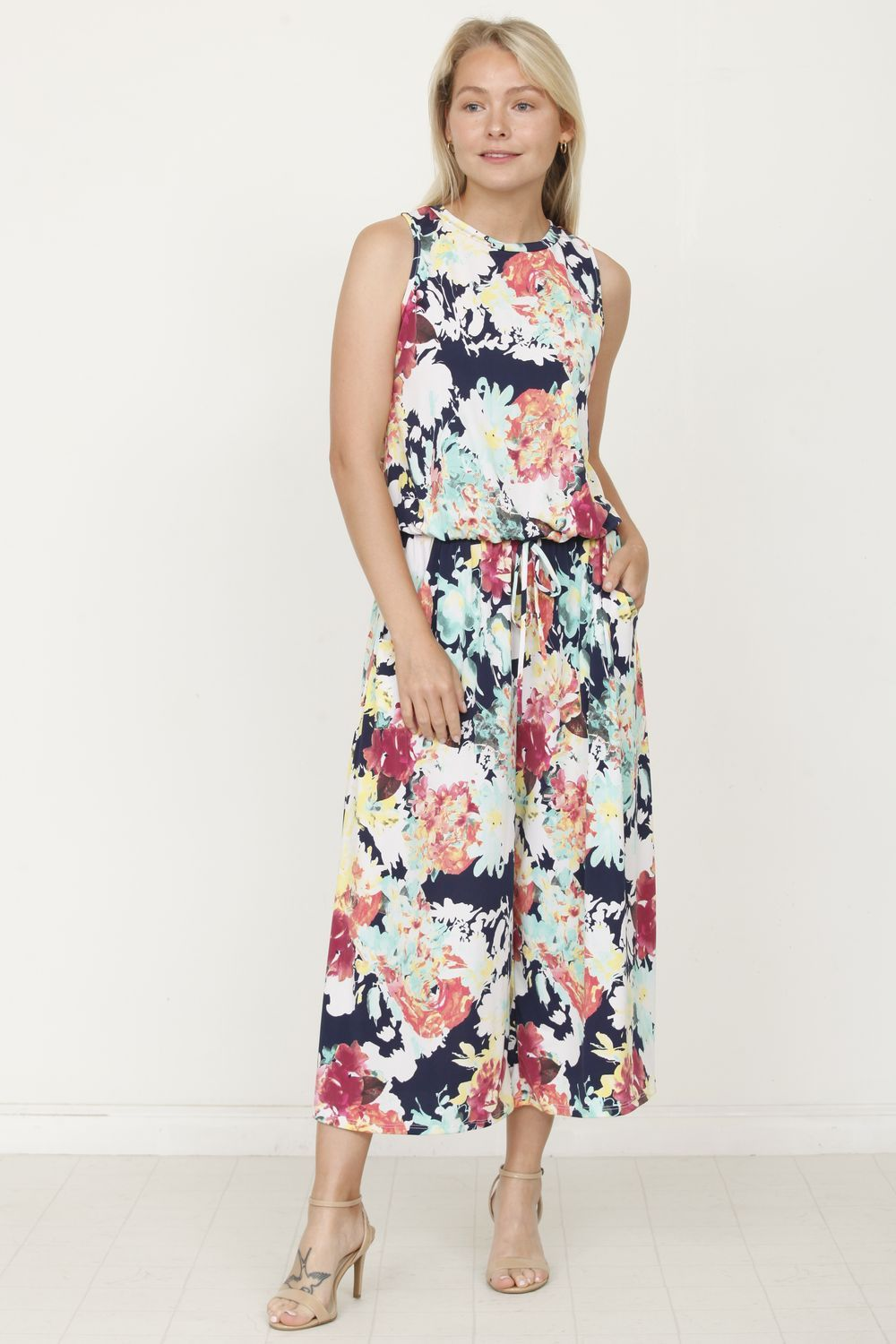Navy & Mint Floral Sleeveless Cropped Jumpsuit