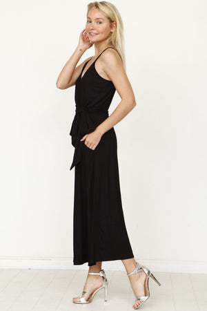 Black Surplice Spaghetti Strap Cropped Jumpsuit with Sash