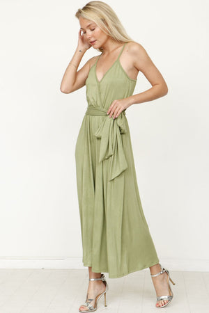 Sage Surplice Spaghetti Strap Cropped Jumpsuit with Sash