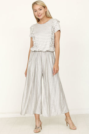 Grey Stripe with Ruffle Cropped Jumpsuit_Plus