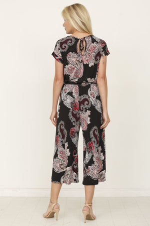 Black Paisley Short Cuff Sleeve Tulip Hem Cropped Jumpsuit with Sash