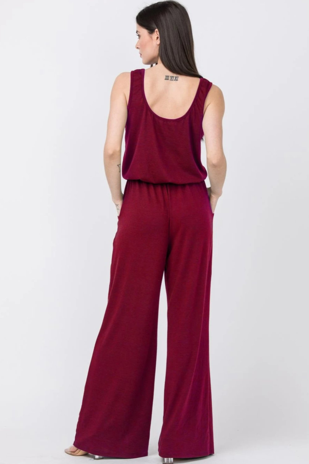 Burgundy Sleeveless Drawstring Jumpsuit with Front Pocket