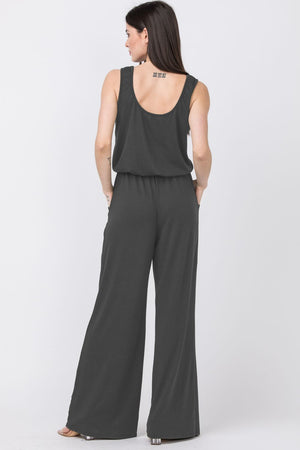 Charcoal Sleeveless Drawstring Jumpsuit