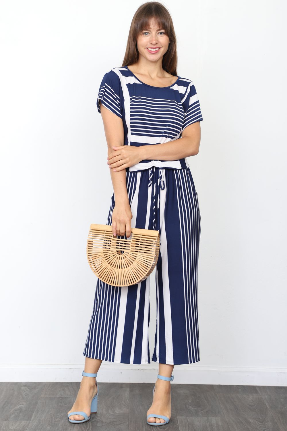 Navy Multi Stripe Short Sleeve Blouson Cropped Jumpsuit