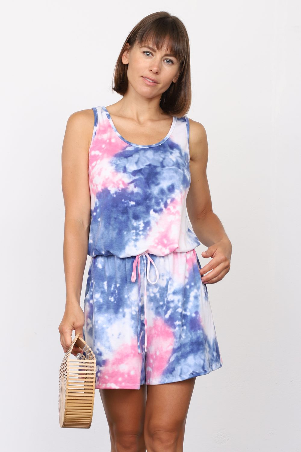 Galaxy Tie Dye Sleeveless Romper_Plus