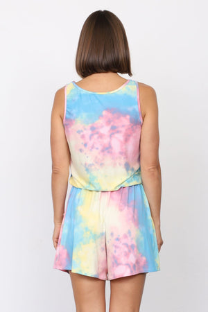 Pastel Tie Dye Sleeveless Romper_Plus