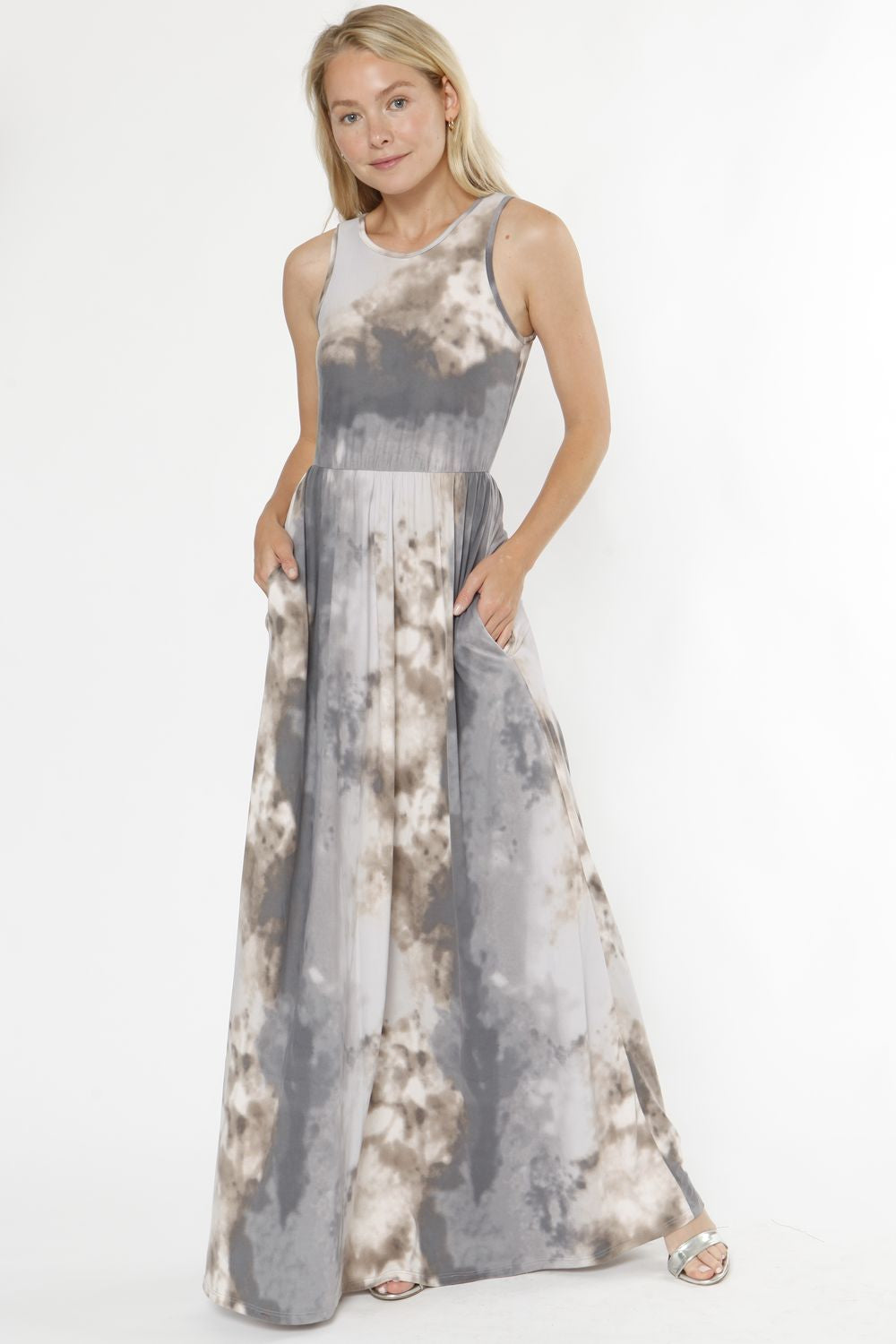 Ash Grey Tie Dye Sleeveless Maxi Dress_Plus