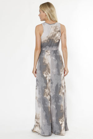 Ash Grey Tie Dye Sleeveless Maxi Dress