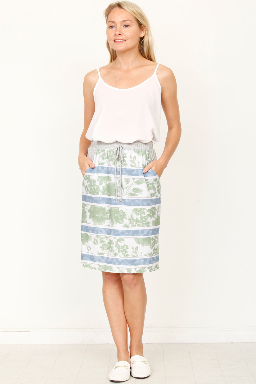 Mint Floral Blue Stripe Band Skirt