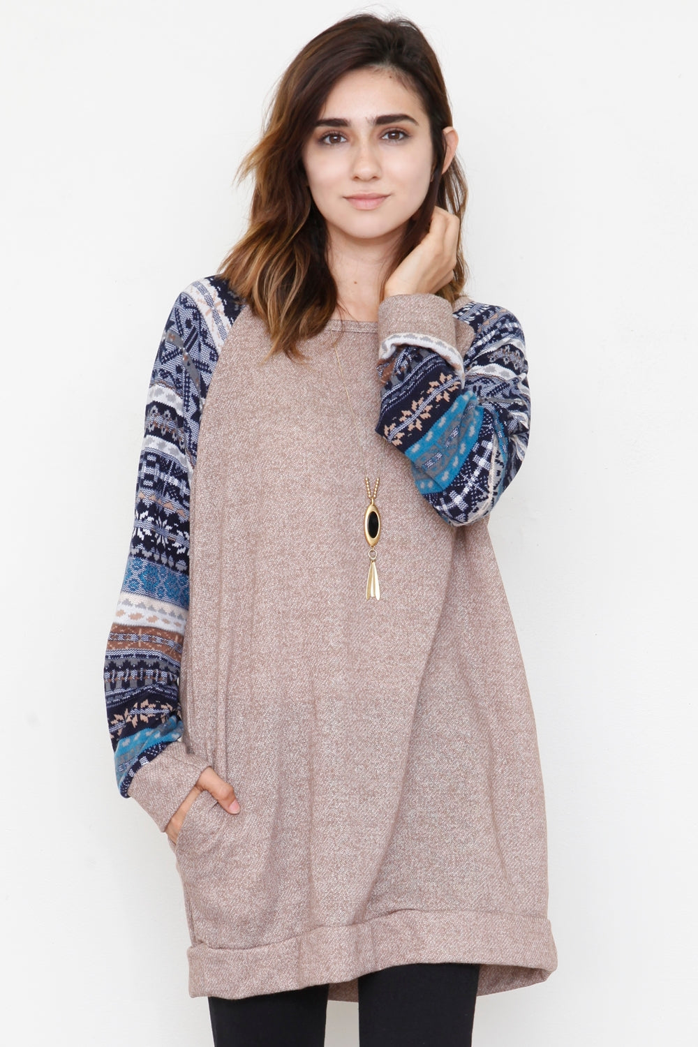 Nordic Sleeve Mocha Terry Tunic_L