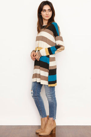 Multi Stripe Elbow Patch Tunic