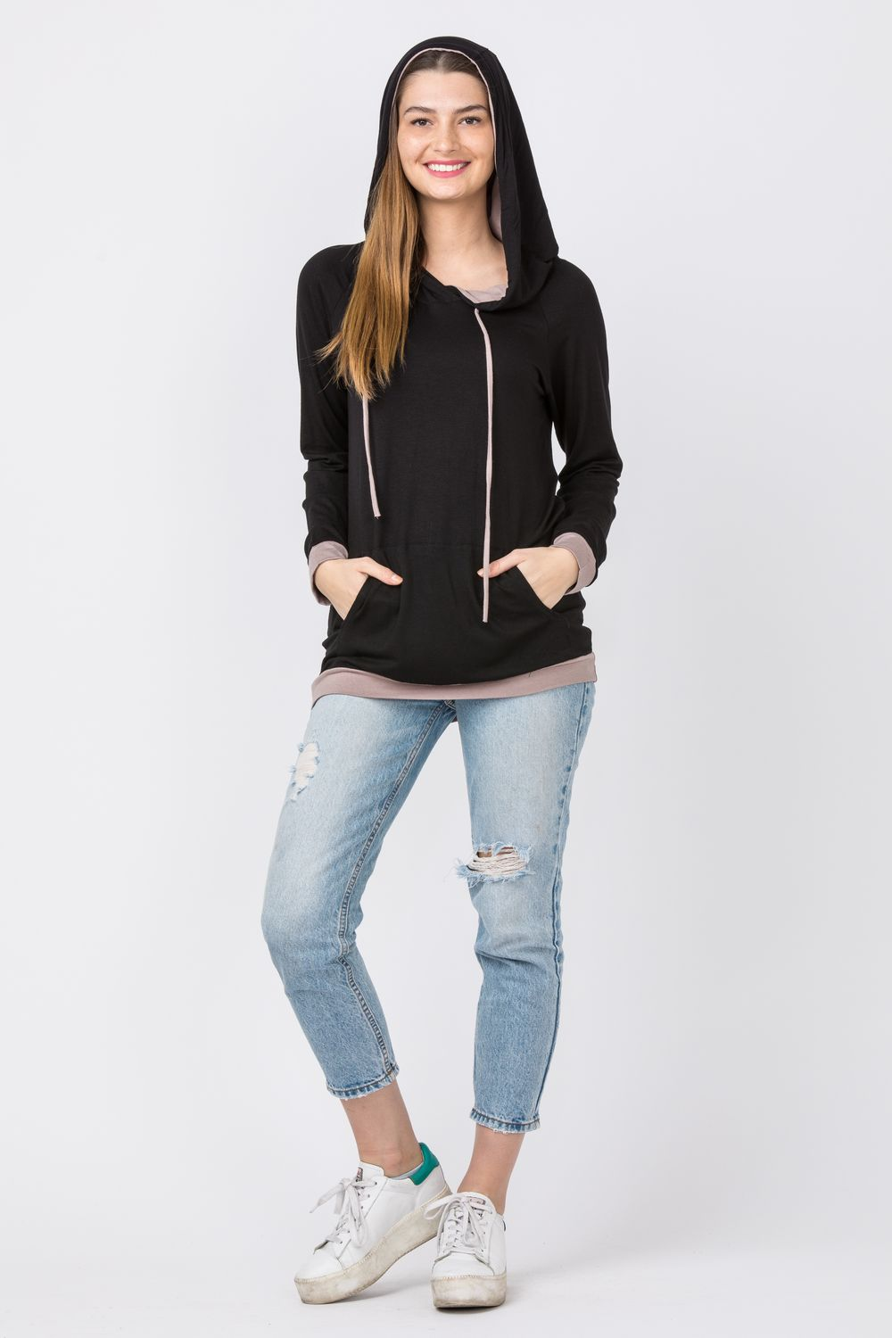 Black & Mocha Two Tone Hoodie Tunic with Kangaroo Pocket_Plus