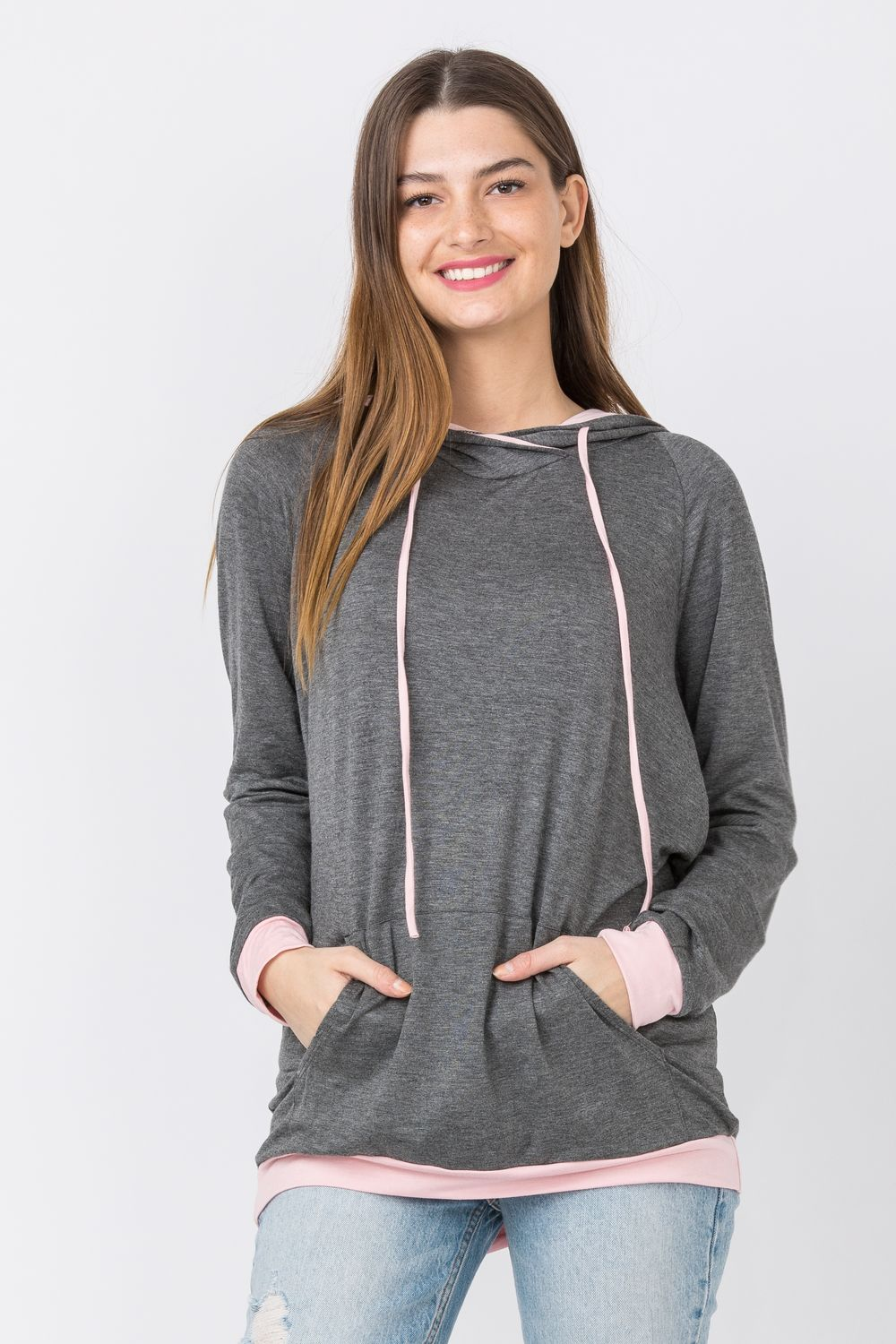Charcoal & Pink Two Tone Hoodie Tunic with Kangaroo Pocket_Plus