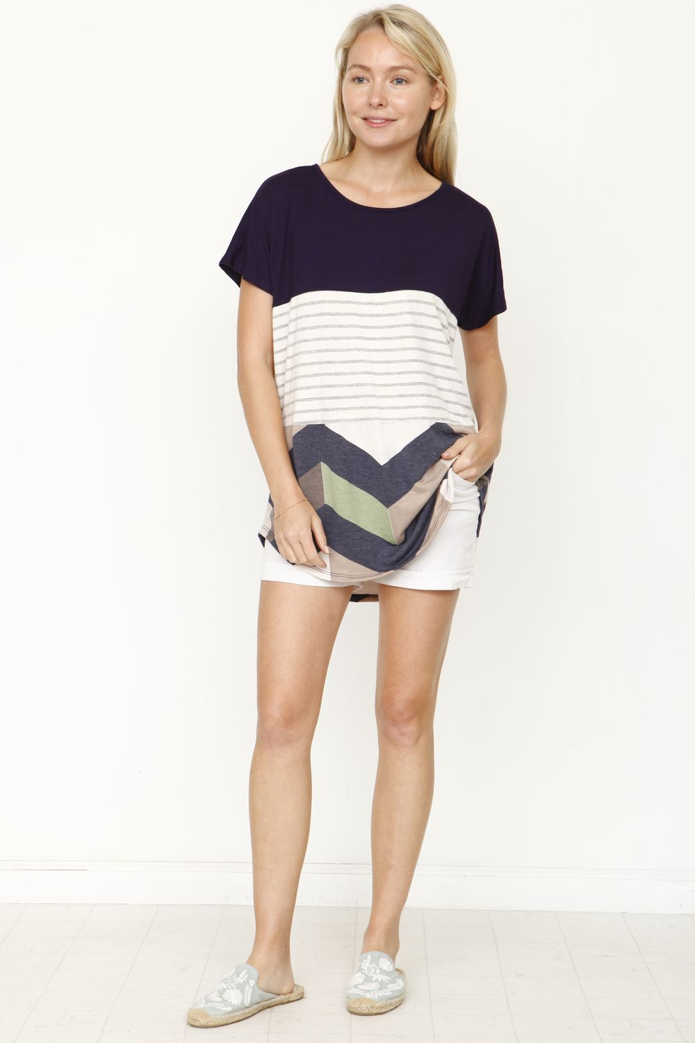 Navy & Sage Chevron Color-Block Top