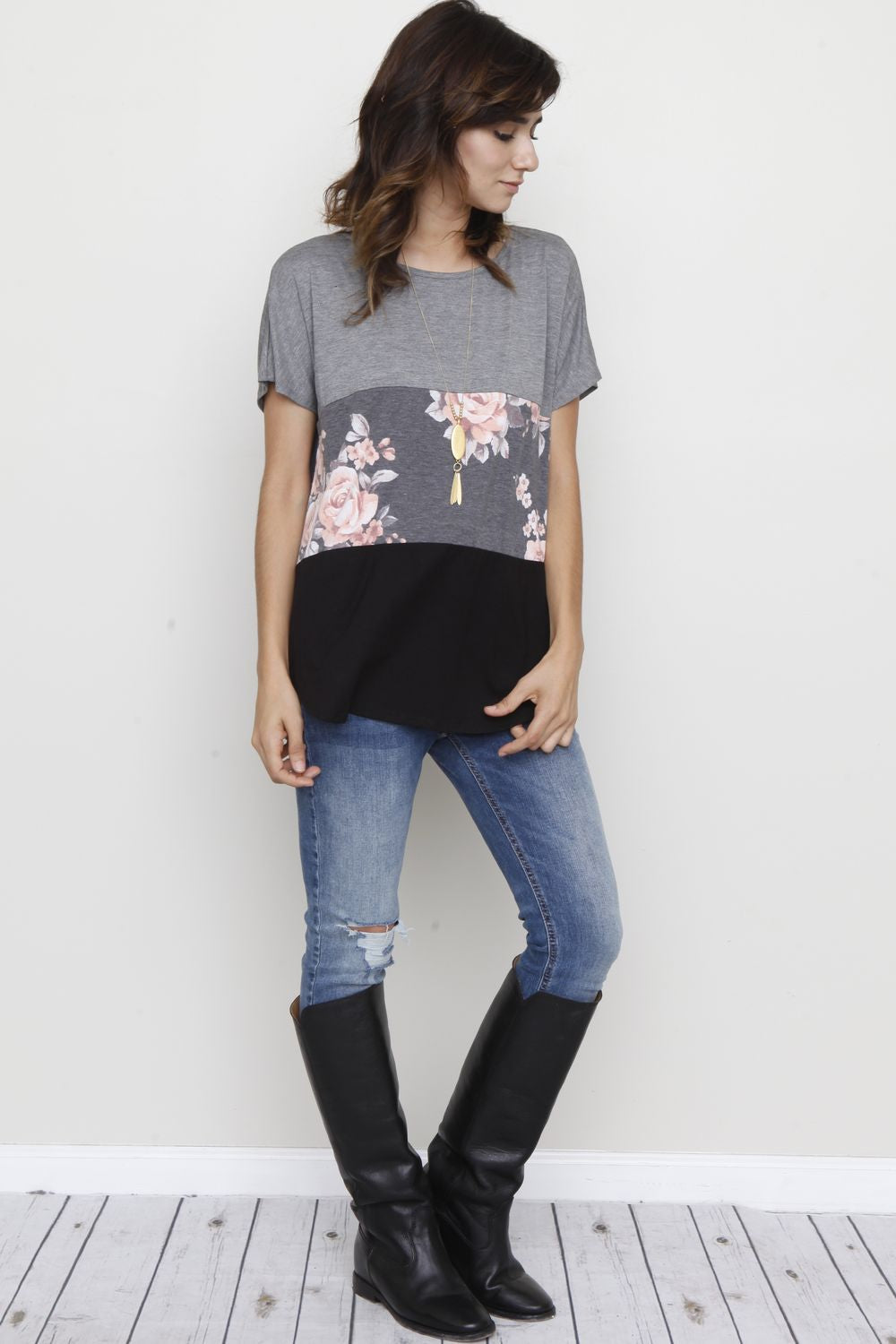Charcoal Floral Black Color-Block Short Sleeve Tunic