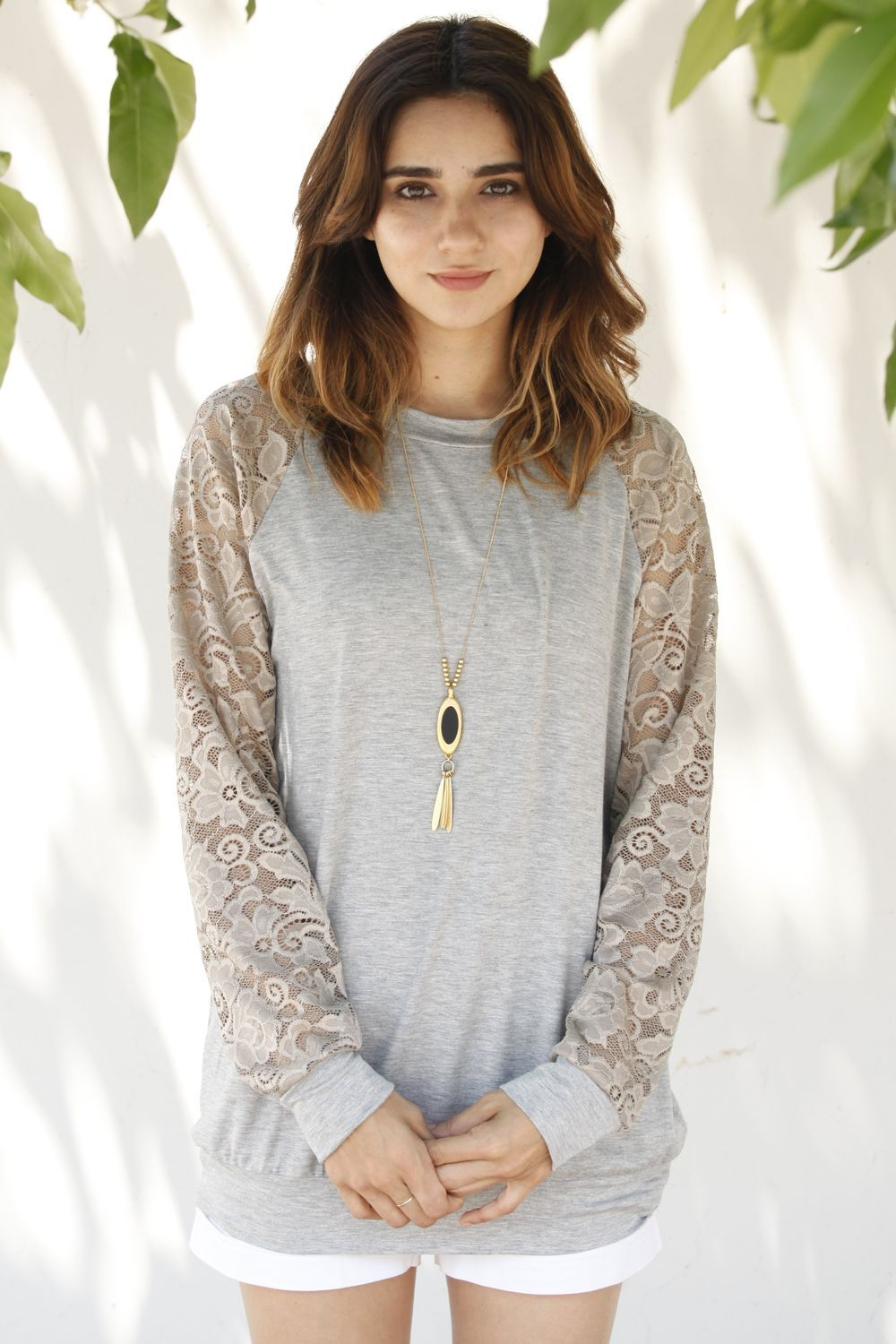 Gold Lace Sleeve Raglan Tunic